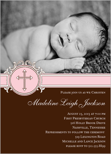 Framed Cross Girl Baptism Invitation by Prints Charming