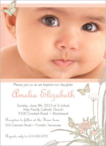 Butterfly Girl Baptism Invitation by Rock Paper Scissors