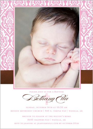 Damask Girl Baptism Invitation by Petite Lemon