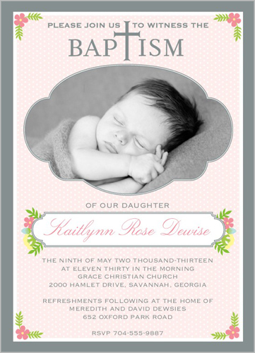 Floral Baptism Girl Baptism Invitation by Prints Charming