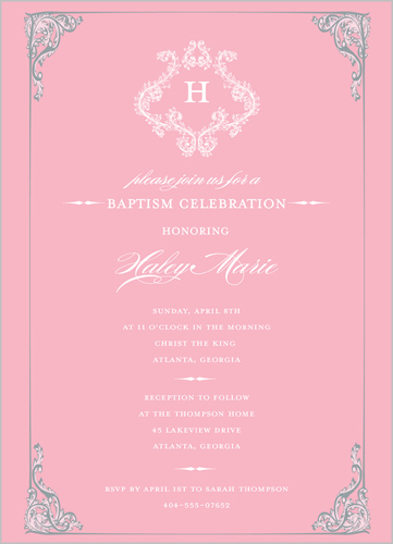 Victorian Girl Baptism Invitation by Dabney Lee
