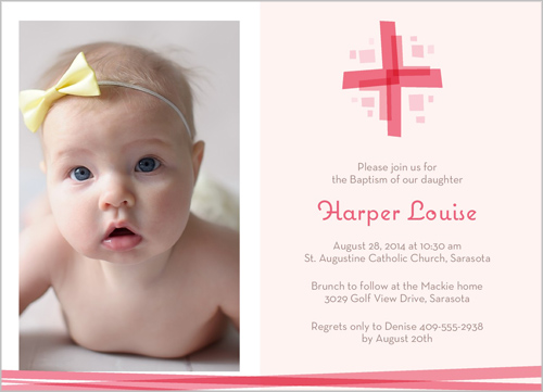Modern Cross Girl Baptism Invitation by Paper Plains