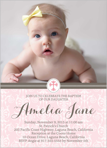 Elegant Cross Girl Baptism Invitation by Blonde Designs