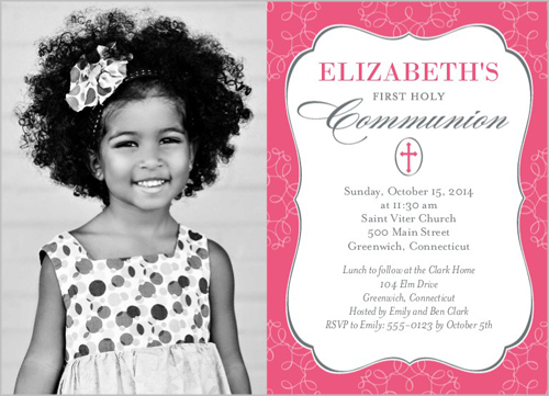 Memorable Moment Girl Communion Invitation by Blonde Designs