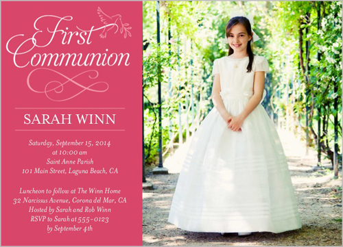 Timeless Script Girl Communion Invitation by Blonde Designs