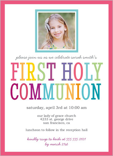Fun Type Girl Communion Invitation by Yours Truly
