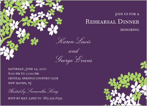 Arbor Blossom Eggplant Rehearsal Dinner Invitation by Tag & Co