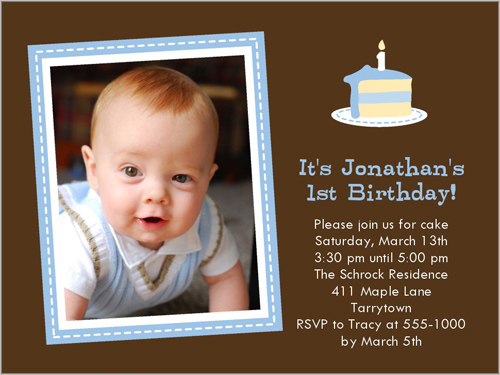 Baby Cakes Blue Birthday Invitation by Stacy Claire Boyd