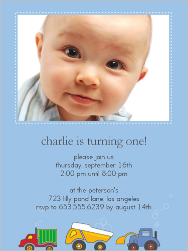 Peppy Playthings Blue Birthday Invitation by Haute Note