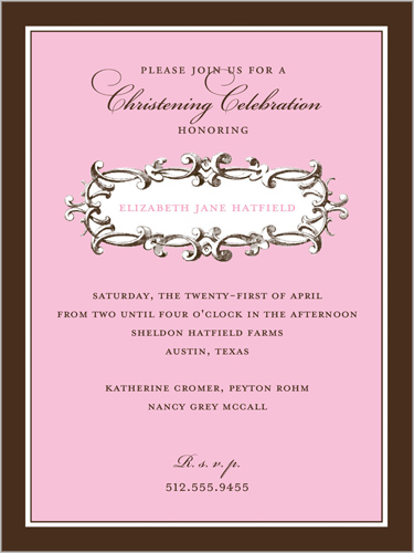 Charming Toile Pink Baptism Invitation