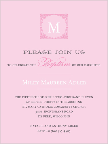 Elegant Monogram Pink Baptism Invitation by Float Paperie