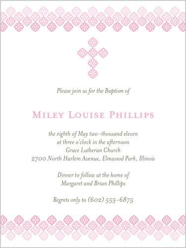 Filigree Cross Rose Baptism Invitation by Float Paperie