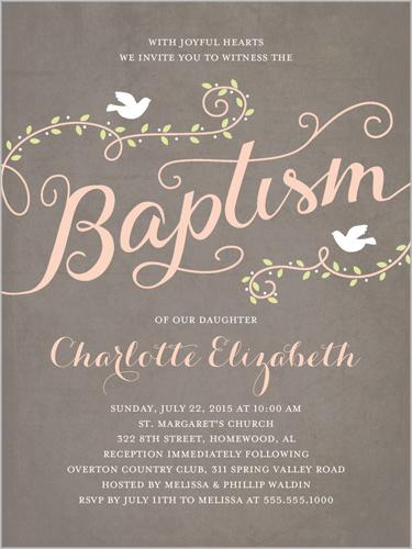 Faithful Flight Girl Baptism Invitation by Stacy Claire Boyd