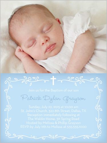 Precious Vine Boy Baptism Invitation by Stacy Claire Boyd