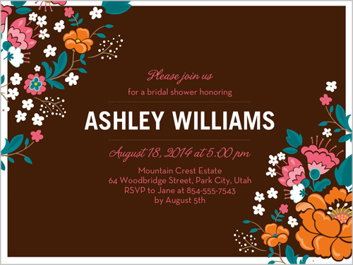 Wild Flowers Frame Bridal Shower Invitation by Brejer
