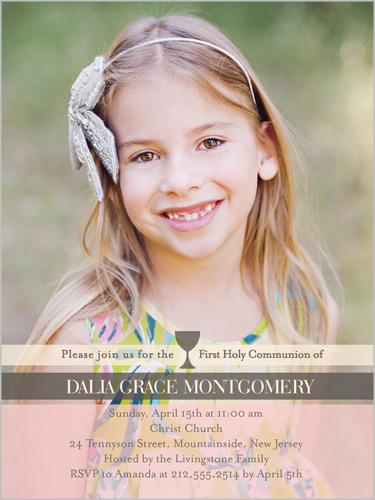 Elegant Chalice Girl Communion Invitation by Poppy Studio