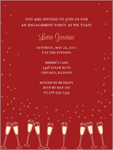 Gleaming Glasses Red Engagement Party Invitation by Yours Truly