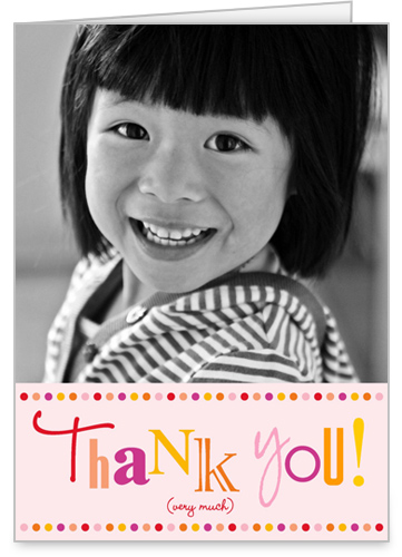 Polka Dot Girl Thank You Card by Petite Papier
